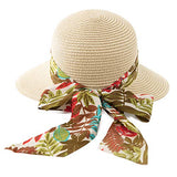 Bucket Straw Sun Hat Bow Knot Back Fashion Visor UV Protection Ladies Beige