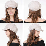 Women's Merino Wool Visor Beret Newsboy Cabbie Cap Winter Hats Beige