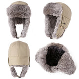 100% Rabbit Fur Beige Bomber Hat with Ear Flaps and Mask