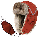 Winter Windproof Orange Faux Fur Bomber Hat with Ear Flaps and Mask