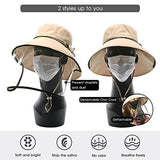 Womens UPF50+ Linen Cotton Summer Sunhat Bucket Hats With Chin Cord Khaki
