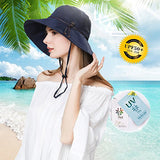Women Wide Brim Sun Protection Foldable Beach Safari Hat UPF Black Hat