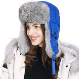 Unisex 100% Rabbit Fur Trapper Black Ushanka Russian Bomber Hat