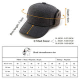 Mens Winter Wool Black Baseball Cap with Ear Flap