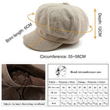 Women's Merino Wool Visor Beret Newsboy Cabbie Cap Winter Hats Coffee