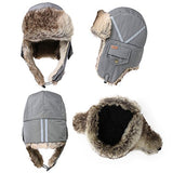 Winter Windproof Grey Faux Fur Bomber Hat with Ear Flaps and Mask