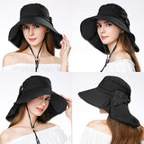 UPF 50+ Packable Wide Brim UV Cotton Bucket Hat with Chin Strap Black