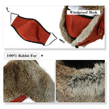 Winter Windproof 100% Rabbit Fur Oliver Bomber Hat with Ear Flaps and Mask