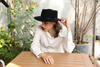 Womens 100% Wool Felt Hat Winter Panama Fedora Hats