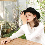 Winter Fedora for Women 100% Wool Felt Hat Flocking Waistband