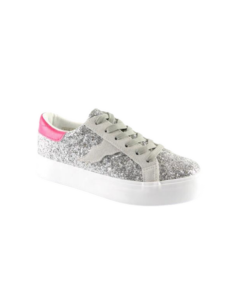 Silver Trainers with a Pink Trim