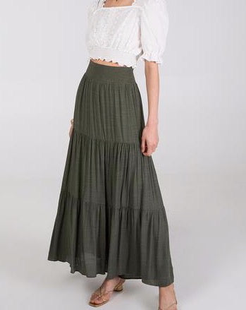 Khaki Tiered Maxi Skirt
