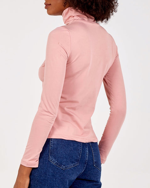 Pink Fleece Lined Roll Neck