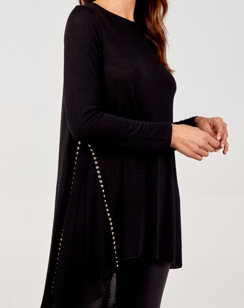 Michelle - Black Tunic with Sheer Panel