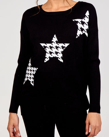 Michelle - Black Long Sleeve Lounge Set with Stars