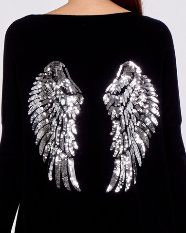 Michelle - Silver Sequin Wing Oversized Jumper & Legging Set in Black