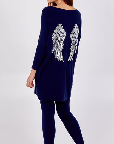 Michelle - Silver Sequin Wing Oversized Jumper & Legging Set