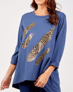 Michelle - Leopard Print Splash Top With Long Sleeves