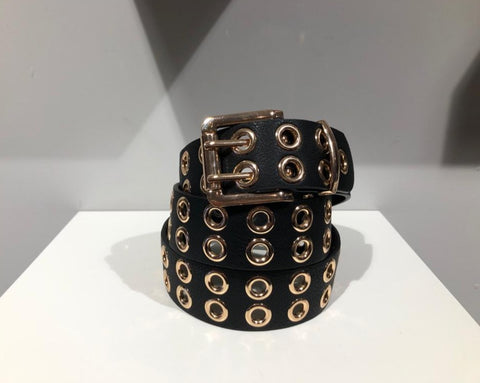 Gillian's Accessories - Double Eyelet Gold Belt