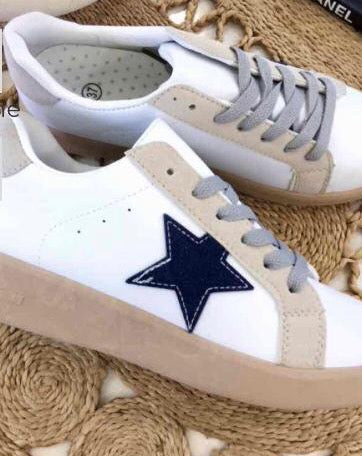 White Trainers with Navy Star