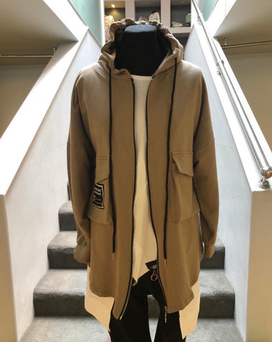 Gilya - Taupe Hooded Jacket With Cargo Pocket