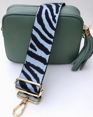 Gillian's Accessories - Green Leather Bag with Zebra Print BeltGillian's Accessories - Green Leather Bag with Zebra Print Strap