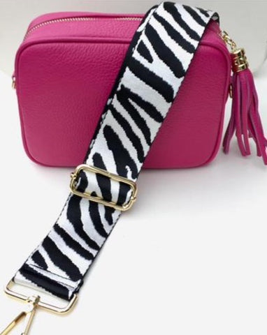 Gillian's Accessories - Hot Pink Leather Bag with Zebra Print Strap and Plain Strap