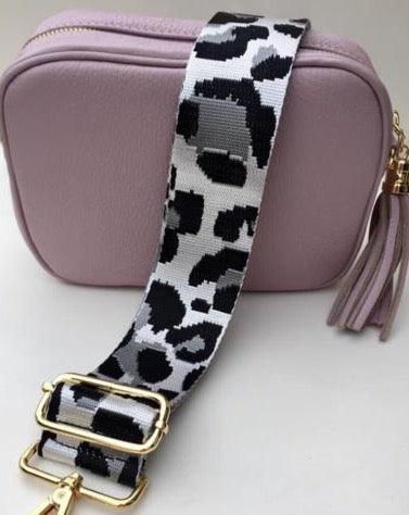 Gillian's Accessories - Dusky Pink Leather Bag with Leopard Print Strap