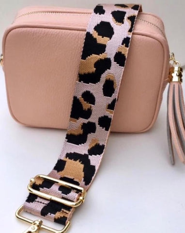Gillian's Accessories - Nude Leather Bag with Leopard Print Strap