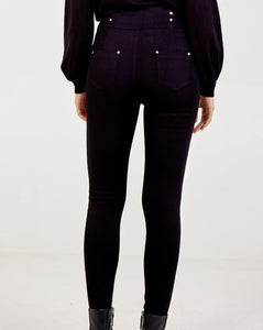 Michelle -Black Super High Waisted Stud Detail Denim