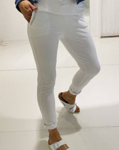 Gilya - White Sequin Pocket Joggers