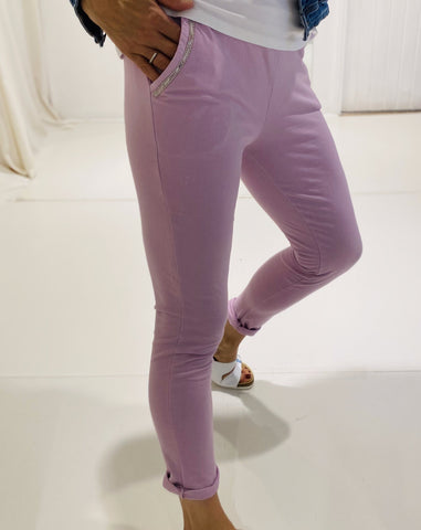 Gilya - Lilac Sequin Pocket Joggers