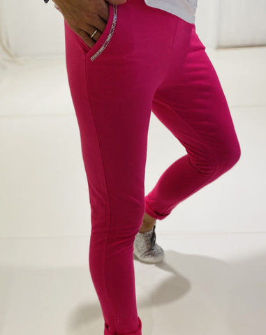 Gilya - Hot Pink Sequin Pocket Joggers