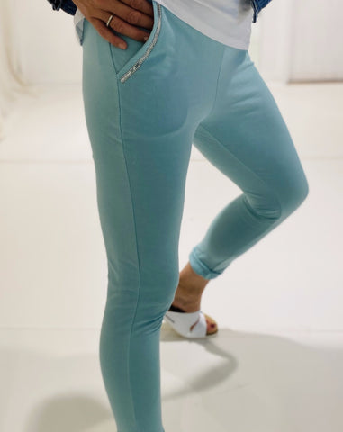 Gilya - Mint Sequin Pocket Joggers