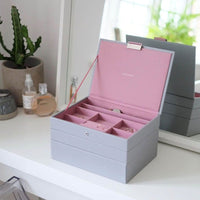 Stackers Jewellery Box, Grey & Antique Rose