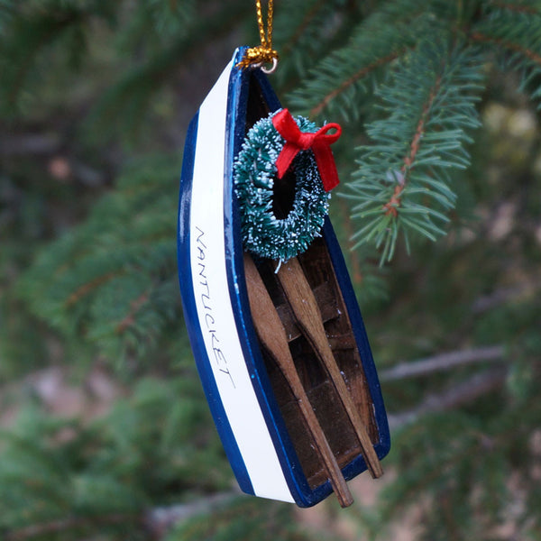 Nantucket Dory Boat with Oars Ornament