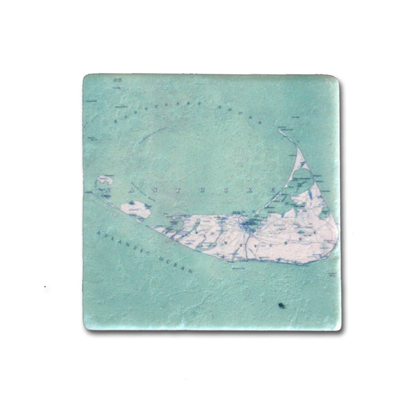 Antique Turquoise Nantucket Map Magnet