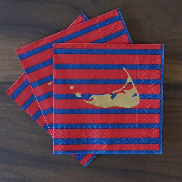 Nantucket Island Cocktail Napkins (Blue & Red)