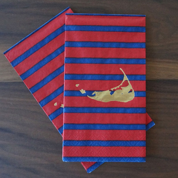 Nantucket Island Guest Towels (Blue & Red)