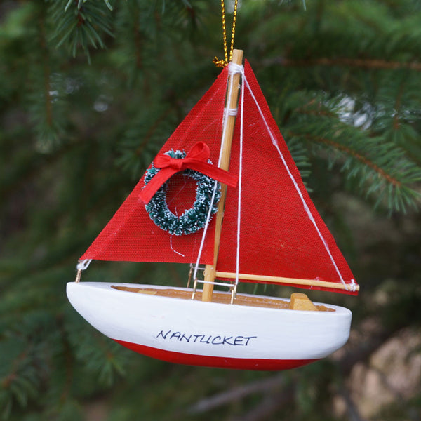 Nantucket Red Sailboat Ornament