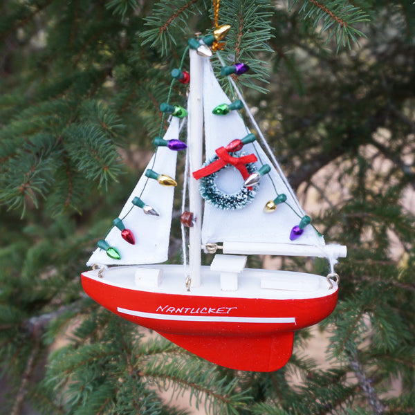 Nantucket Christmas Sailboat Ornament