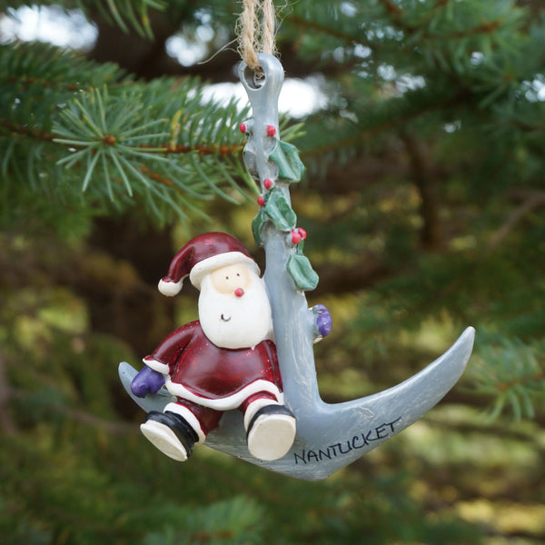 Nantucket Santa on Anchor Ornament