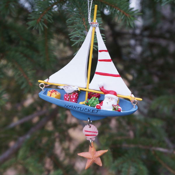 Nantucket Santa on Sailboat Ornament