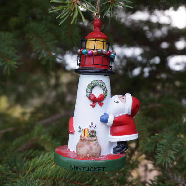 Nantucket Santa & Lighthouse Ornament
