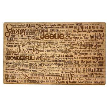 Names of Jesus Wooden Plaque