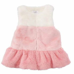 Girls Layered White & Pink Fur Vest