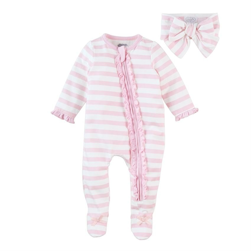 Pink Stripe Ruffle Sleeper