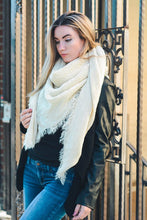 Load image into Gallery viewer, Open Weave Square Scarf - Ivory
