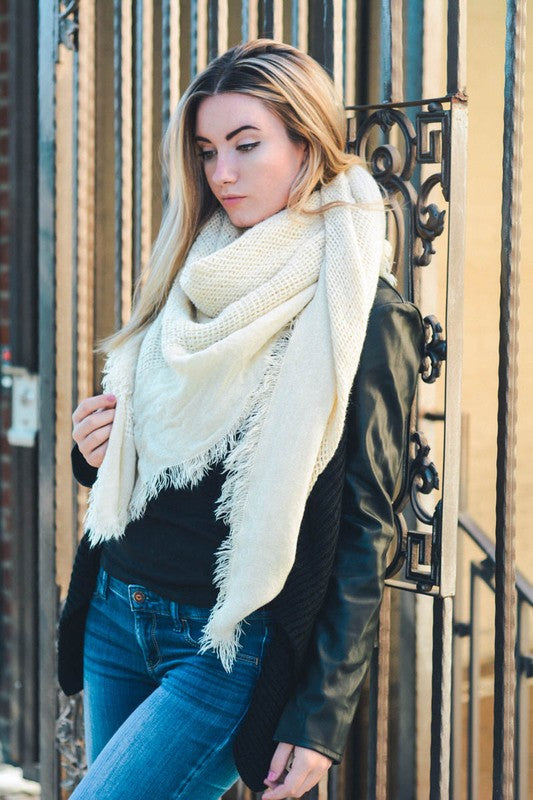 Open Weave Square Scarf - Ivory