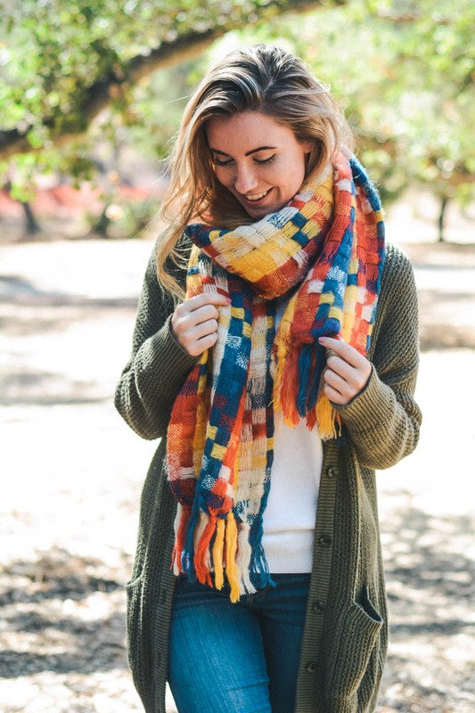 Patchwork Woven Multicolor Tassel Scarf - Yellow